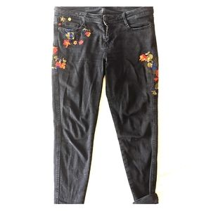 Embroidered Black Wash Boho Vintage Denim
